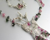 Soul Dancer - Tourmaline, Sterling Silver, and Karen Hill Tribe Fine Silver  Necklace  - The Goddess Series