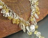"Citrine, Quartz, Sterling Silver Wire Wrapped Necklace ... ""Gem Cascades Series"""