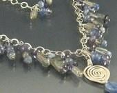 "Iolite, Labradorite, Kyanite, Sterling Silver Wire Wrapped Necklace ... ""Gem Cascades Series"""