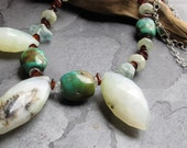 Stunning Peruvian Opal, Aquamarine, Turquoise, Amber, Sterling Silver Necklace  -- The Temptress --