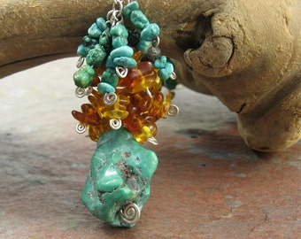 Amber, Turquoise, Sterling Silver Handmade Necklace --  Turquoise Falling Necklace --