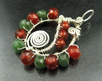 Carnelian, Aventurine, Sterling Silver, Spiral Pendant -- Down That Road --