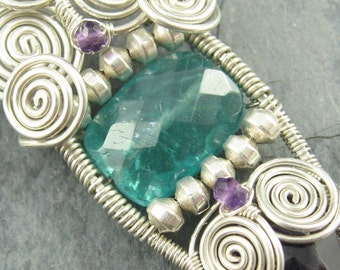 "Apatite, Amethyst, Sterling Silver,  Wire Wrapped Pendant  - ""Ocean Trails"""