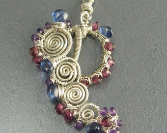 "Kyanite, Rhodolite Garnet, Amethyst and Sterling Silver Wire Wrapped Pendant ... ""RoundAbout"""