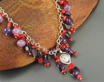 "Amethyst, Coral, Sterling Silver Handmade Necklace ... ""Gem Cascades Series"""