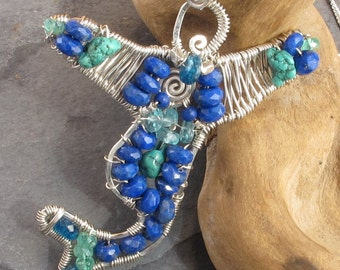 Lapis Lazuli, Apatite, Turquoise, Sterling Silver, Wire Wrapped Mermaid Pendant  - TaeZana -