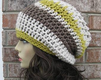 Beanie Slouchy Stripes all season, Bohemian Slouchy Hat, Beanie Hat, Beret Hat, Gift Chemo Hat, Beret Beanie Hat, Tam Beret Hat, Cozy Hat