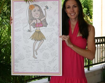 Caricature sign-in poster
