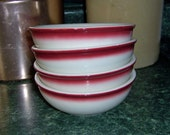 Vintage Buffalo China Pottery Set of 4 Bowls - 1950s Restaurant Dishes for Cereal or Berries