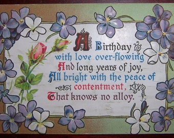 Vintage Embossed Postcard Post Card - A Birthday with Love Overflowing - Postally Unused
