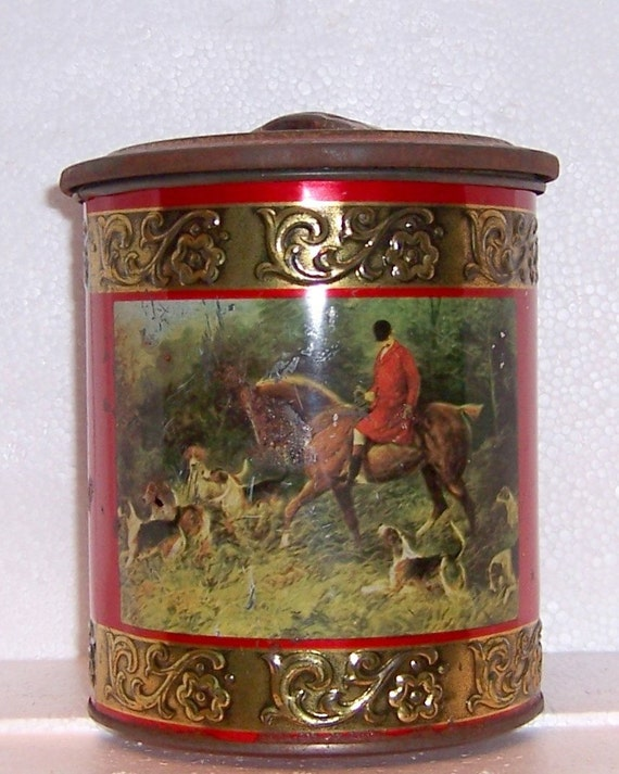 VINTAGE WESTERN GERMANY METAL TIN CONTAINER - THE FOX HUNT - RUSTY, CHIPPY