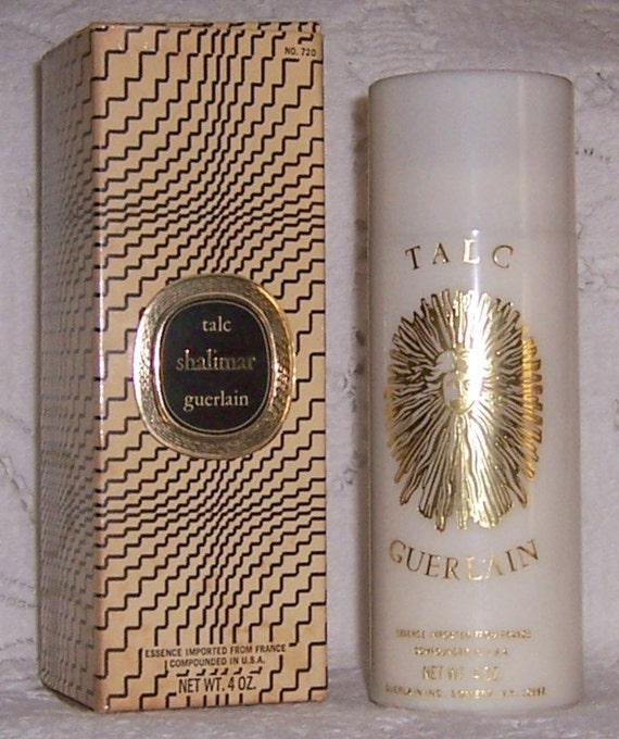Vintage GUERLAIN SHALIMAR Perfumed Talc Container - 1980s - with Original Box