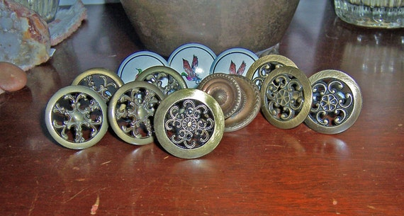 Vintage Metal Brass and Ceramic Furniture Drawer Pulls, Knobs, Handles - Lot of 12