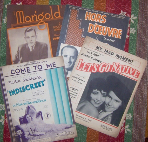 1930s London Sheet Music Collection - Come to Me, My Mad Moment, Hors D'oeuvre, Marigold - Lot of 4