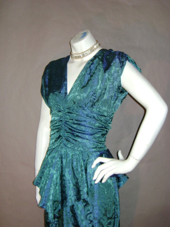 80s dress 1980s vintage TURQUOISE JACQUARD DRAPED 40s inspired peplum Holiday cocktail party dress