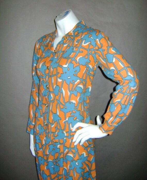 60s dress 1960s vintage ORANGE BLUE SCOOTER mod pop art graphic floral print shorts skirt jumpsuit dress