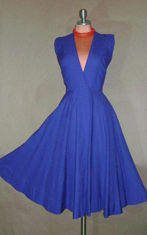 50s dress 1950s vintage ROYAL BLUE LINEN Anne Fogarty wrap jumper full skirt dress