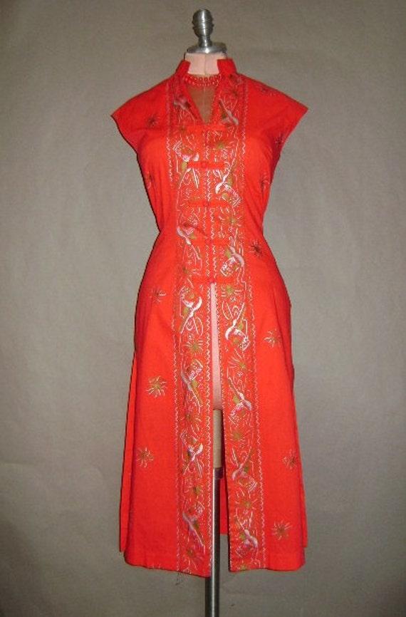 50s dress 1950s vintage RED GOLD SILVER Hawaiian hourglass tea timer Hawaii guitar dress
