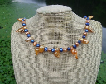 Freshwater pearl necklace in Blue and Tangerine