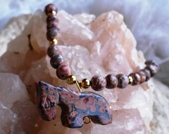 Leopard skin Jasper Horse with Leopard skin Jasper Beads