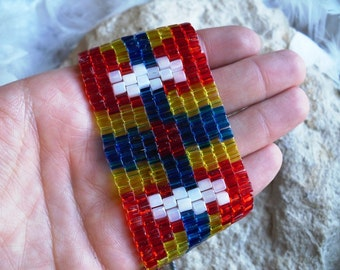 Peyote Stitch Bracelet in Red, White, Blue, and Yellow