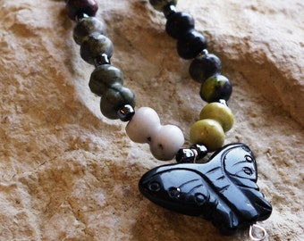 Blackstone Butterfly with Yellow Turquoise Beads
