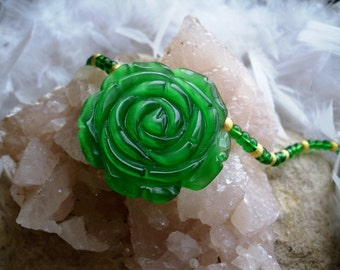 Green Fiber Optic Rose with Green Jablonex Beads