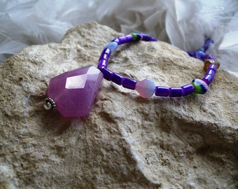 Candy Jade Pendant with Purple Fiber Optic and Glass Beads