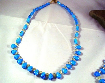 Blue Glass Briolettes with Swarovski Crystals