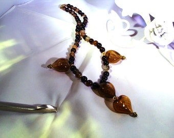 Hand blown glass hearts with Black Agate Beads