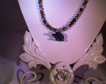 Black Gemstone Eagle with Silver Leaf Agate Necklace