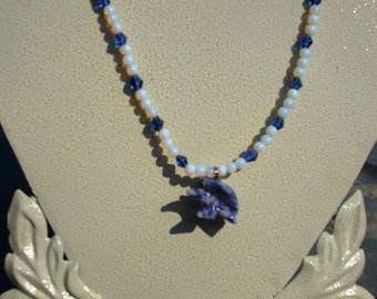Sodalite Eagle with Opalite and Crystal