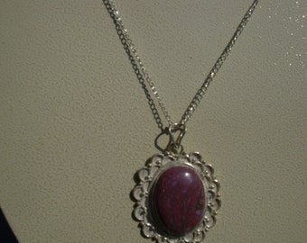 Burgundy Turquoise Pendant on Silver Chain