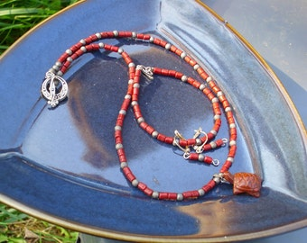 Mahogany Obsidian Turtle with Glass Beads