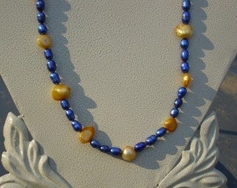 Blue and Gold Freshwater Pearls