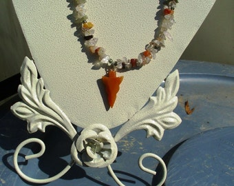 Carnelian Arrowhead with Mixed Gemstone Chips