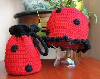 Hat CROCHET PATTERN Girl LADYBUG Beanie Cloche Hat and Purse