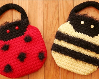 CROCHET PATTERN Easy Purse LADYBUG Bumblebee Cute Purse Handbugs
