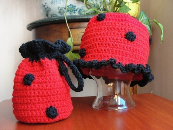 Baby Girl Hat CROCHET PATTERN Animal LADYBUG Beanie Cloche Hat and Purse