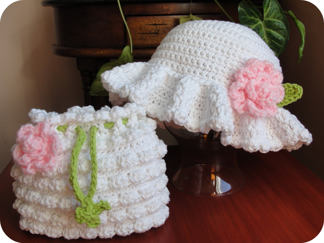 Free Crochet Pattern For Easter Bonnet : Hat and Purse CROCHET PATTERN Hat Baby Girl Child Wedding