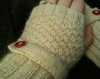 Warm Soft Oatmeal/Tan Fingerless Gloves with Strap & Vintage Red Buttons