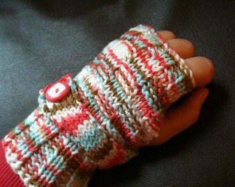 Neopolitan Pink, Brown, White, & Baby Blue Fingerless Gloves with Strap and Pink/White Buttons, Handknitted
