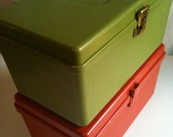Olive/ Avocado Green  Wil-Hold Plastic Sewing/Craft Box/Caddy with Brass Latch