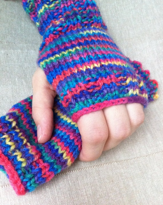 Multi Colored Blue/Pink/Yellow/Purple/Teal Fingerless Gloves Handknitted