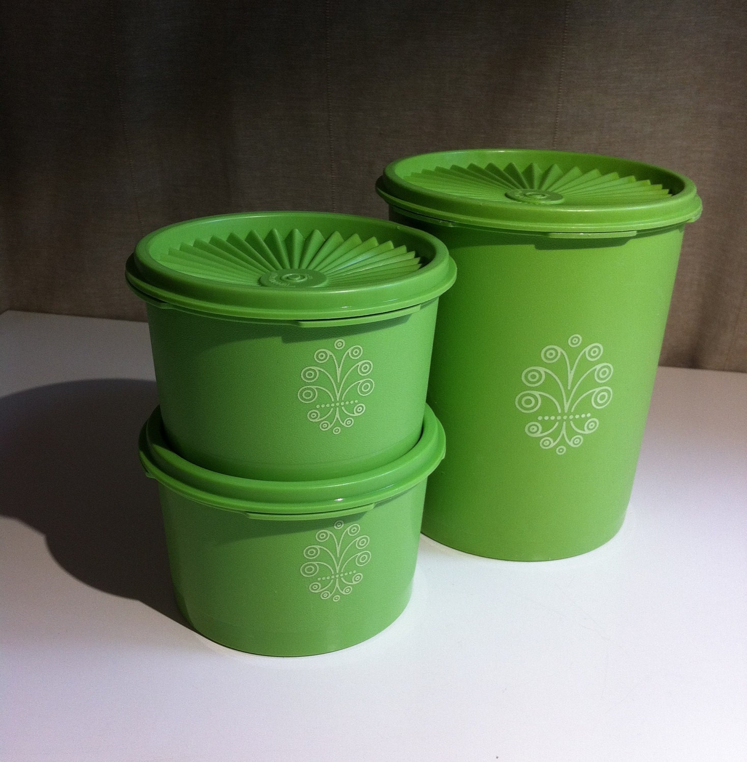 Vintage Retro Tupperware Lime Green Canisters by PennyLadyDesigns