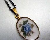 Vintage blue rose bronze necklace