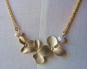 Three orchid pendant with two freshwater pearl gold filled chain necklace