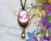 The Pink Tear- Pink cameo pendant with jongquil( little yellowish) clear teardrop stone beads dangle antique bronze chain necklace