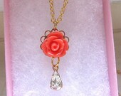 Coral rose with clear stone teardrop gold or silver chain necklace