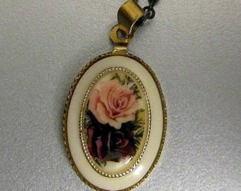 Vintage pink red rose cameo antique bronze chain neckalce